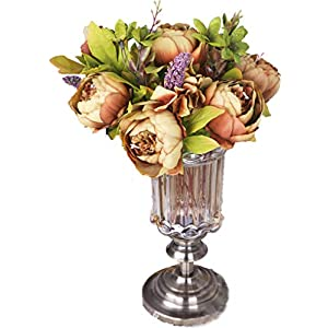 Anlise Silk Flowers Vintage Artificial Peony Fake Flower Bouquet for Home Wedding Centerpieces Décor, Coffee 17