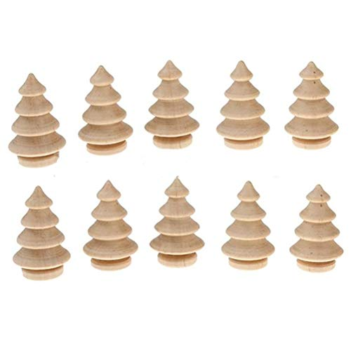 10Pcs Unfinished Wood Christmas Tree DIY Natural Wooden Xmas Tree for Arts and Crafts Children Kid Graffiti Drawing Toy (Acorn Christmas Tree)