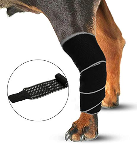 Morezi Dog Brace Dog Rear Leg Braces Wrap Sleeve Protects Wounds Pet Brace Heals and Prevent Injuries, Sprain, and Loss of Stability from Arthritis, One Size Fits All - Magic Tape - M