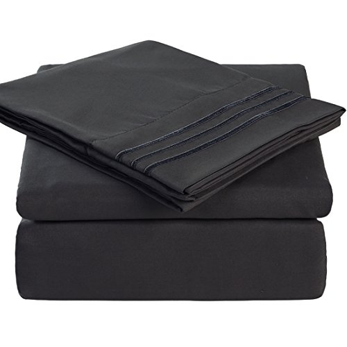 Queen Size 4 Piece Bed Sheet Set 1800 Bedding 100% Microfiber Polyester,Extra Deep Pocket, Breathable,Warm,Hypoallergenic,Soft, Comfortable,Durable,Include 1 Flat,1 Fitted, 2 Pillowcases Dark Grey