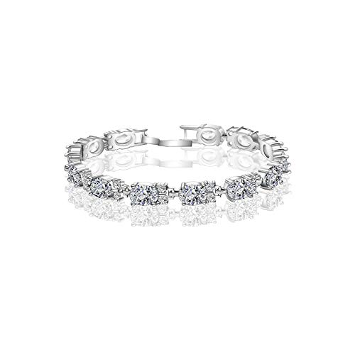 (AMYJANE CZ Tennis Bracelet for Women - Elegant 18k White Gold Plated Sterling Silver Oval Swarovski Crystal Cubic Zirconia Bracelet Wedding Bridal Jewelry Bridesmaids Gift )