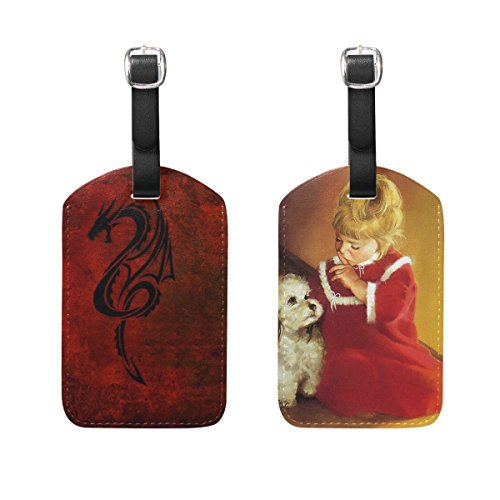 JIUMEI Dragon Pattern Red Black Anime Cartoon Girls Dog Orange Oil Painting 2 Pack PU Leather Suitcase Luggage Tags Travel Luggage Tag Name Identifier by JIUMEI