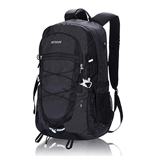 LUSAF Outdoor Hiking Backpack, 35L Lightweight Travel Backpack Water Tear Resistant Large Capacity Daypack with Multi-Pockets for Men Women