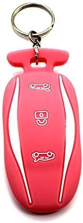[해외]BBATECH Tesla Model S Car Key Cover Key Chain Silicone Keychain for Model S 60 75 100D (Pink) / BBATECH Tesla Model S Car Key Cover Key Chain Silicone Keychain for Model S 60 75 100D (Pink)