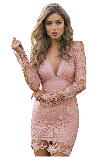 RUIGO Plunge V Neck Open Back Lace Crochet Bodycon Clubwear Night Out Cocktail Mini Dress (M, Pink)
