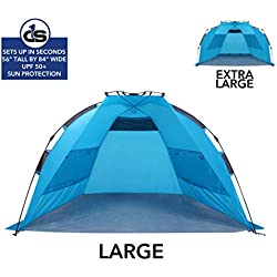 Beach Tent with UPF 50+ Sun Protection by D1S in Extra Large - Portable Sun Shade Canopy with Instant Pop-Up Frame for Families - Roomy, Outdoor Day Tents with Easy Setup