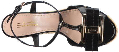 Sebastian WOMAN'S SHOE S5312 VERNER - Sandalias de tela para mujer, color negro, talla 35