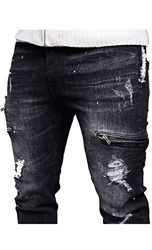 Biker Casual Jeans Ragazzo Strappati Slim Distressed Vintage Colour Uomo Straight Pantaloni Fit Denim Da SwRqqvZ7