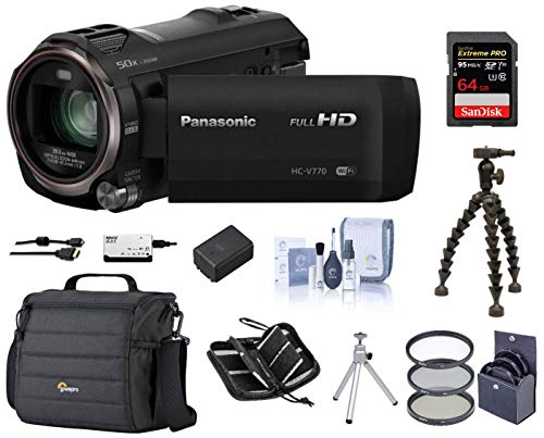 Panasonic Full HD Camcorder HC-V770, 20X Optical Zoom, Bundle | Cam Case + 49mm Filter Kit + Extra Battery + 32GB SD Card + Gripper Tripod + Memory Wallet + - Card Panasonic Memory Digital Secure