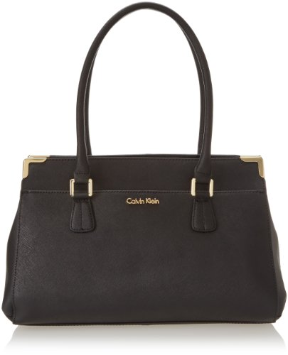 Calvin Klein On My Corner Saffiano Satchel Top Handle Bag,Black/Gold,One Size