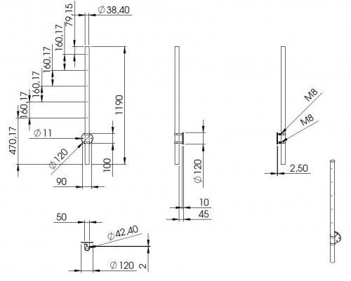 Edelstahlpfosten zur Wandmontage 42,4mm L= 1190mm mit 4x Gewinde f/ür Stabhalter