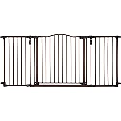 """Deluxe Décor Gate"" by North States: Fits extra-wide openings and has matte finish on heavy-duty metal for safety and functionality. Hardware mount. Fits openings 38.3"" to 72"" wide (30"" tall, Bronze)"