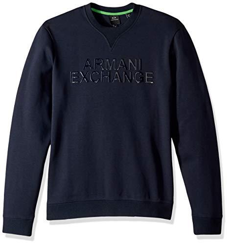 A X Armani Exchange Men's Solid Colored Pullover Sweatshirt, Navy, ()