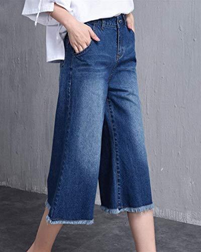 La Haute Cropped À Bobolily Vrac Jeans Bleu Ladies Spécial Pantalon Loisirs En Taille Style W9DH2EI
