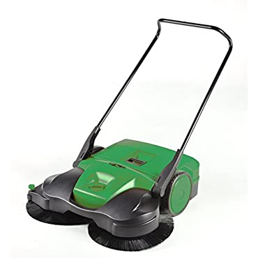 BISSELL BG697  BigGreen Commercial Battery Powered Triple Brush Push Power Sweeper, 13.2 gal Debris Container, 42 Height, 38 Width, Polypropylene, Green
