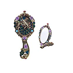 MOIOM Vintage Style Foldable Oval Peacock Pattern Makeup Hand/Table Mirror