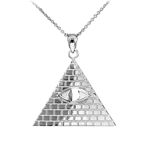 925 Sterling Silver Pyramid Charm All Seeing Eye of Providence Illuminati Pendant Necklace, - Eye Pendant Udjat