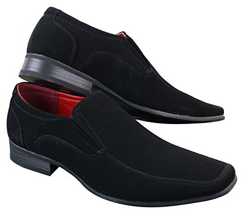 On Schwarzes Schwarz Wildleder Herren Schuhe Quadrat Smart Leder Toe PU Slip Nubukleder Casual XIdAqd