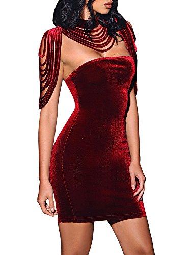 Karlywindow Womens Sexy Removable Collar Stretch Strapless Velvet Bodycon Mini Dress