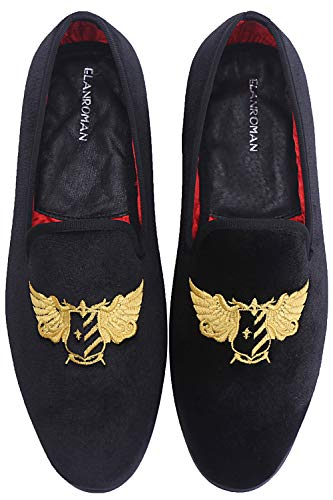 - ELANROMAN Men's Loafers Black Velvet Dress Christmas Shoes with Gold Butterfly Loafers & Slip-On Smoking Loafer Shoes for Men Wedding Casual Shoes Black US 8 EUR 41 Feet Lenght 280mm