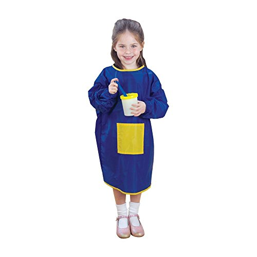 CP Toys Long Sleeve Nylon Paint Smock, Blue and Yellow - Stain-Resistant and Machine Washable - Fits Most Children Ages 3 to 6 Years