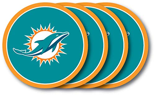 NFL Miami Dolphins Vinyl Coaster Set (Pack of -