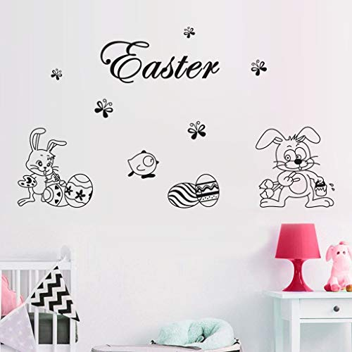 Wall Decals Clearance , Happy Easter Rabbit Vinyl Decal Art Wall Sticker DIY Home Room Decor  by Little -