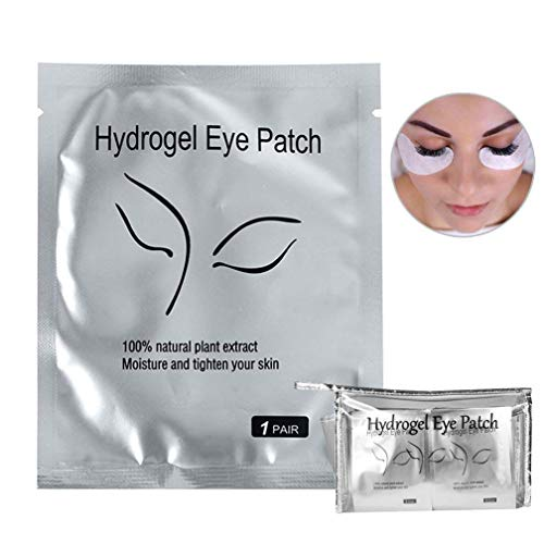 100 Pairs Eyelash Extension Gel Patches Kit, Lash Extension Lint Free Under Hydrogel Eye Mask Pads Beauty Tool with Transparent Cosmetic Bag (100 pair)