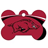 Personalized Laser Engraved 1.5 x 1 inch Arkansas Razorbacks Bone Shape Pet ID Tag- Free Tag Silencer