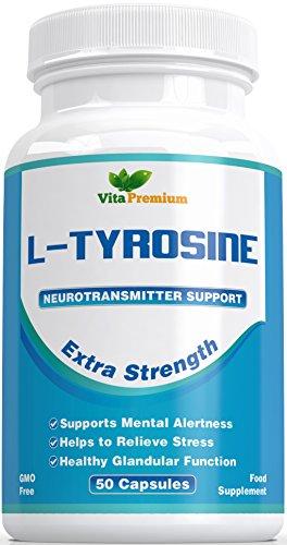 L - Tyrosin Extra Stark, Aminosäure, 50 Veg Kapseln - Leistungsstarker Stimmungsverbesserer und Energie-Booster - Hilft Stress Abzubauen, Verbessert die Mentale Leistung und die Intellektuellen Fähigkeiten - Fühlen Sie den Unterschied Oder Erhalten Sie Ihr Geld Zurück