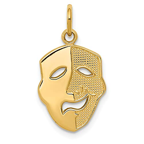 Mireval 14k Yellow Gold Comedy Mask Charm (11 x 21 -