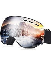 FYLINA Skibrille Rahmenlose Snowboardbrille Anti-Nebel UV-Schutz brillenträger Skibrille Doppel-Objektiv 100% OTG 190°Klare Sicht Ski Goggles Für Damen und Herren (Silber)