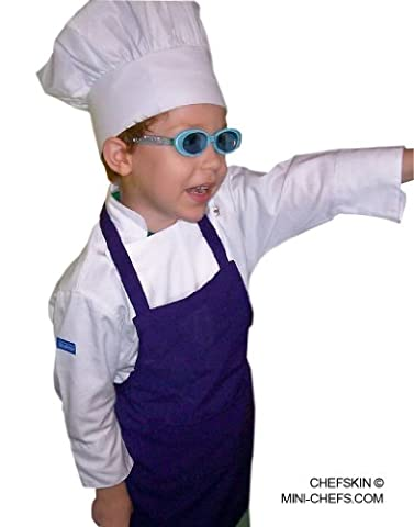 Purple Apron+ White Hat Kid Children Chef Set Lite Fabric - Childrens Chef Hat