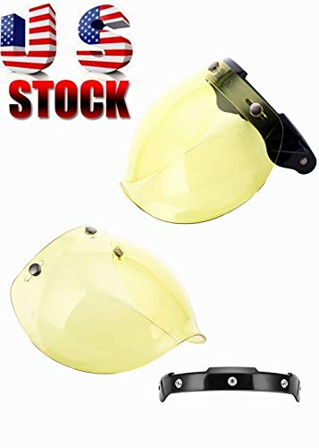 - MotorFansClub 3-Snap Bubble Shield Visor Street Motorcycle Helmet Accessories with Removable Flip Adapter Universal (Yellow, One Size)