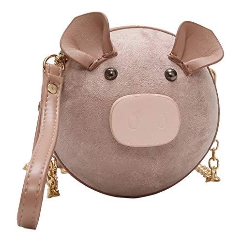 (lightclub Zipper Cute Pig Round Women's Casual Phone Pouch Small Chain Crossbody Bag Handbag Pink L)