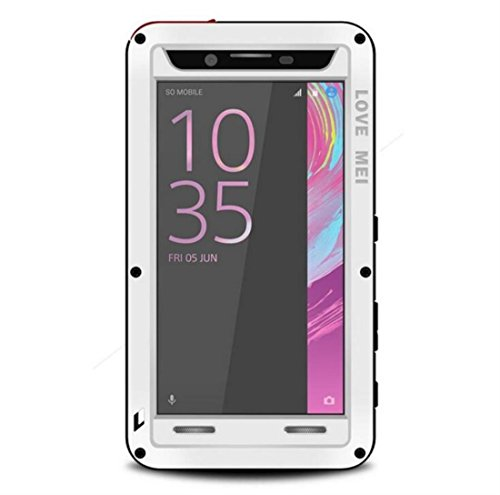 Sony Xperia X Performance Water Resistant Case, X-FASH Heavy Duty Shock/Snow/Dust Proof Aluminum Metal Tough Bumper Cover with Gorillas Glass Screen Protector for Sony Xperia X Performance (White)
