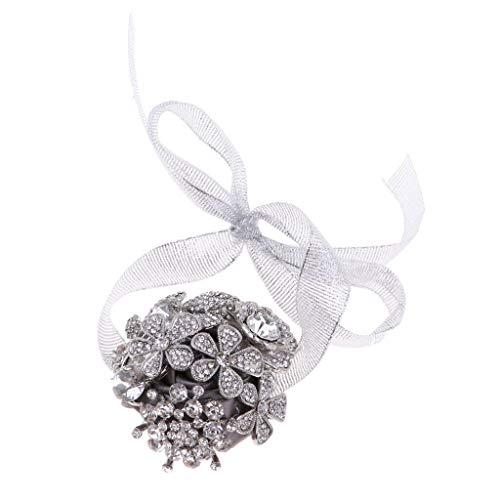 Bridal Rhinestone Hand Flower Ribbon Bracelet Banquet Wrist Corsage Silver