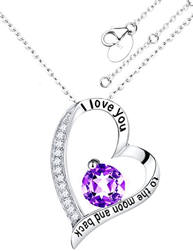 Mother's Day Gifts Elda&Co Fine Sterling Silver and Amethyst I love You to The Moon & Back Engraved Heart Pendant Necklace - Anniversary Gifts Jewelry for women 18