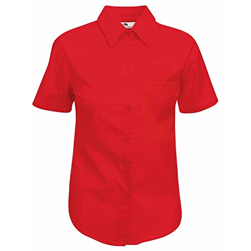 Shirt Fit Sleeve Loom Red Ladies Fruit Poplin of Lady the Short 1TRzFq