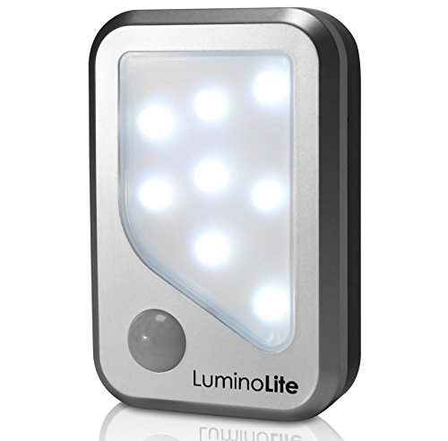 LuminoLite Battery Operated Motion Sensor Night Light - 1-Pack - Activates Only In Low-Light Levels - Stick-Anywhere Or Free Standing - Perfect For Closets, Bathrooms & Hallways - Batteries Included