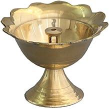 Shubhkart Devdas Deep, Small Handmade Brass Diya, Flower Design Diya