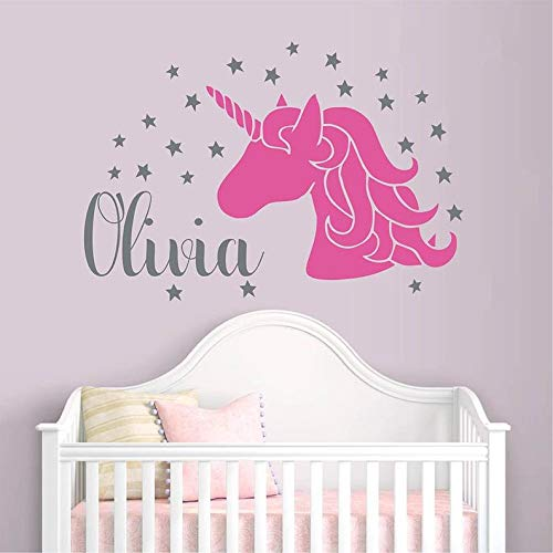 (BYRON HOYLE Unicorn with Personalized Name Decal-Girl Name Decal -Customized Boy Wall Decal Nursery Star Vinyl Art #916C)