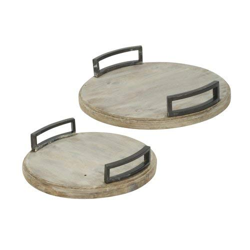 (OKSLO Woolbright round 2 piece accent tray set)
