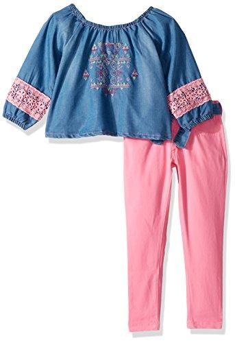 Limited Too Girls' Little Fashion Pant Set, Tencel Denim top Stretch Twill Capri neon Light Pink, 5/6
