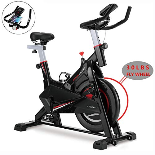 MORNOR Indoor Cycling Stationary Bike, Belt Drive Exercise Bike w/LCD Monitor & Ipad Mount for Home Cardio Gym Workout – 30lbs Flywheel – 280lbs Max Weight