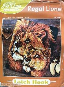 Latch Hook Regal Lions Size: 27