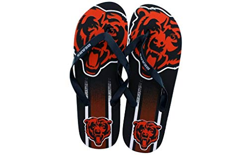 - CHIBLG3-3 - Chicago Bears- Large - Officially Licensed NFL Big Logo Flip Flops - Happy Feet and Comfy Feet