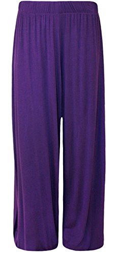 WearAll Plus Size Women's Palazzo Trousers - Purple - US 20-22 (UK - Pants Purple Suit