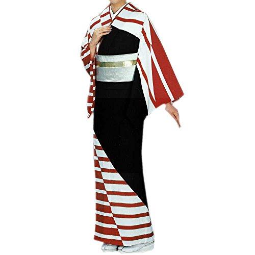お仕立て上がり 着物 黒地 白赤縞柄 絵羽 胴抜き仕立て 踊りの着物