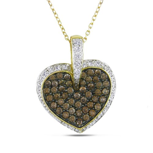 14k Yellow Gold Champagne and White Diamond Heart Pendant Necklace, (1 cttw, H-I Color, I1-I2 Clarity)